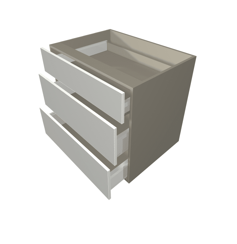 Polytec - 3 Drawer Base Cabinet (1 Small Draw / 2 Pot Draws)