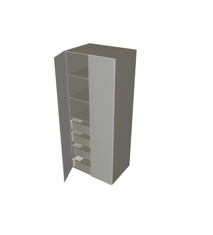 Polytec - Tall 2 Door Pantry Cabinet with Inner Drawers