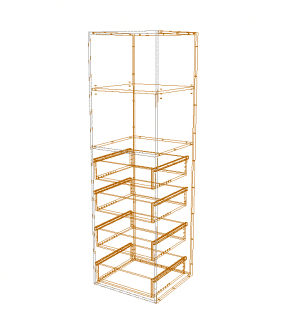 Budget - Tall Wardrobe Open Cabinet with Inner Drawers