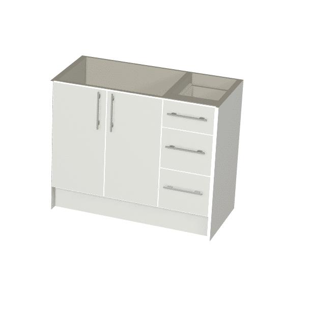 White Gloss - 2 Door, 3 Drawer Vanity Package