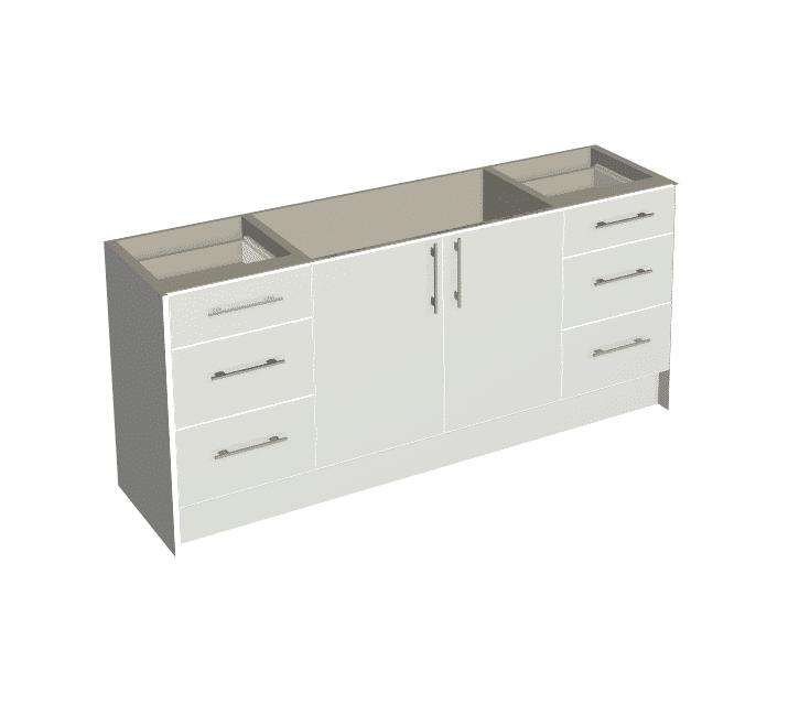 White Gloss - 2 Door, 2 x 3 Drawer Vanity Package